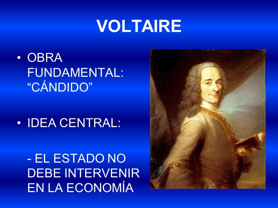 VOLTAIRE OBRA FUNDAMENTAL: CÁNDIDO IDEA CENTRAL: - EL ESTADO NO DEBE INTERVENIR EN LA ECONOMÍA