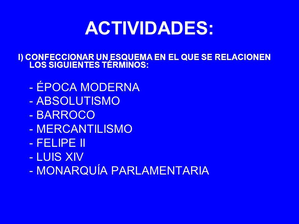 ACTIVIDADES: I) CONFECCIONAR UN ESQUEMA EN EL QUE SE RELACIONEN LOS SIGUIENTES TÉRMINOS: - ÉPOCA MODERNA - ABSOLUTISMO - BARROCO - MERCANTILISMO - FEL