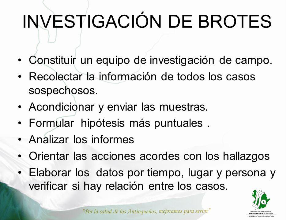 INVESTIGACIÓN DE BROTES Constituir un equipo de investigación de campo. Recolectar la información de todos los casos sospechosos. Acondicionar y envia