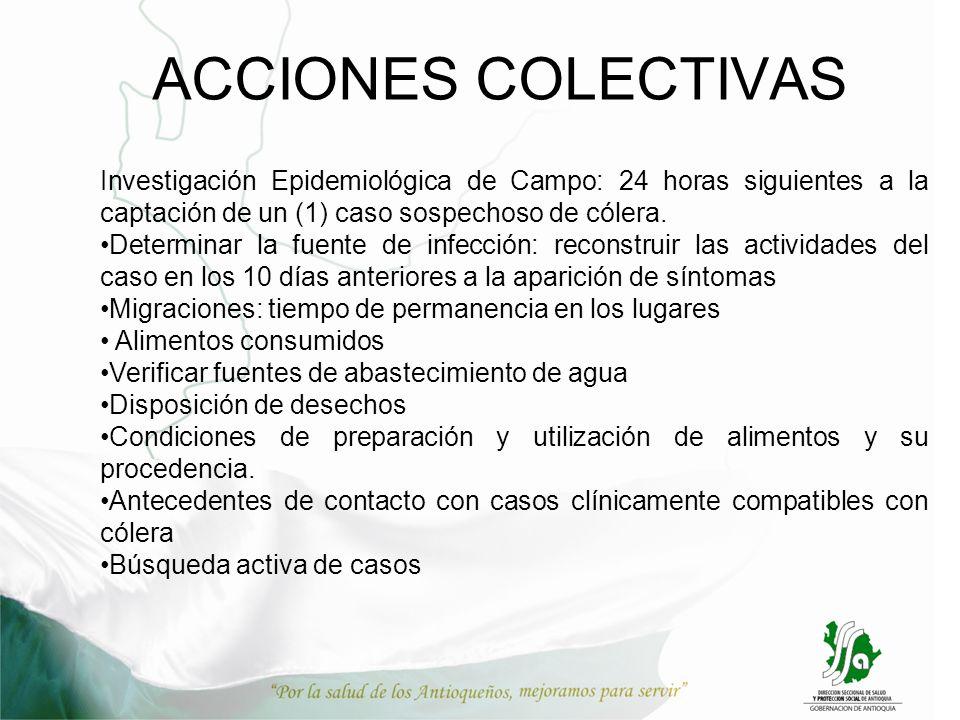 Investigación Epidemiológica de Campo: 24 horas siguientes a la captación de un (1) caso sospechoso de cólera. Determinar la fuente de infección: reco
