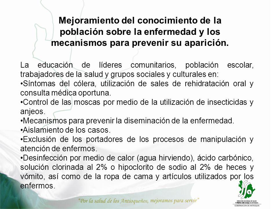 Mejoramiento del conocimiento de la población sobre la enfermedad y los mecanismos para prevenir su aparición. La educación de líderes comunitarios, p