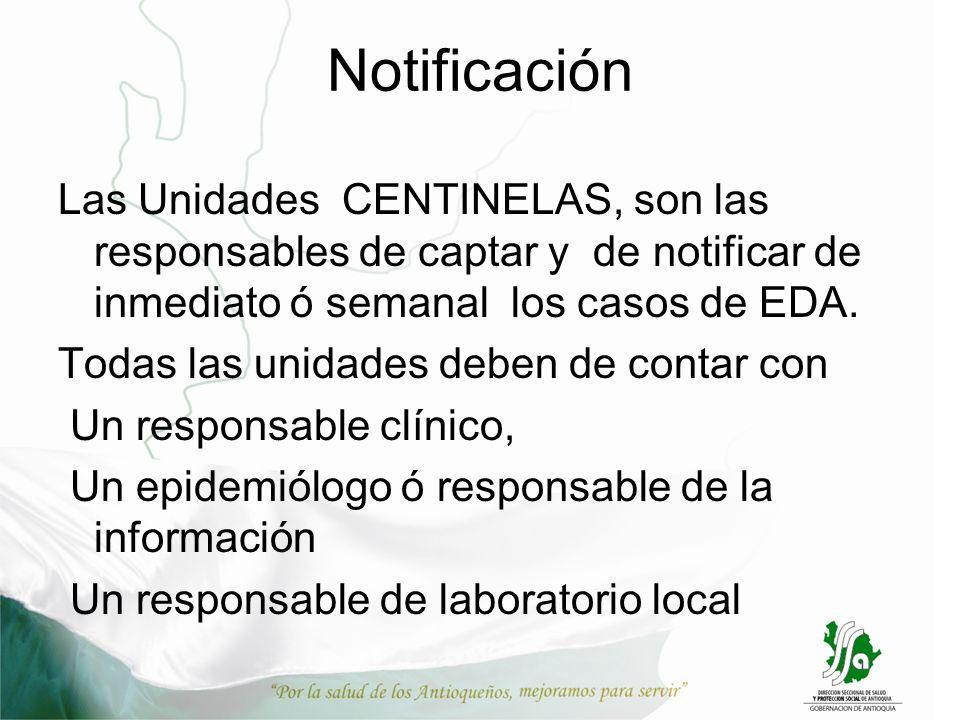 Notificación Las Unidades CENTINELAS, son las responsables de captar y de notificar de inmediato ó semanal los casos de EDA. Todas las unidades deben