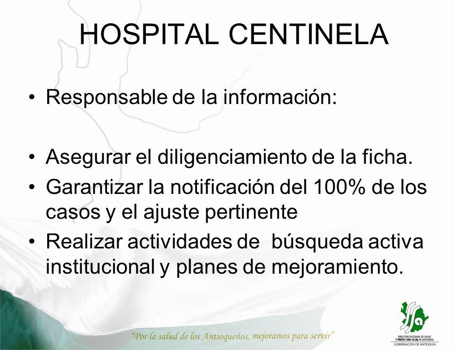 HOSPITAL CENTINELA Responsable de la información: Asegurar el diligenciamiento de la ficha. Garantizar la notificación del 100% de los casos y el ajus