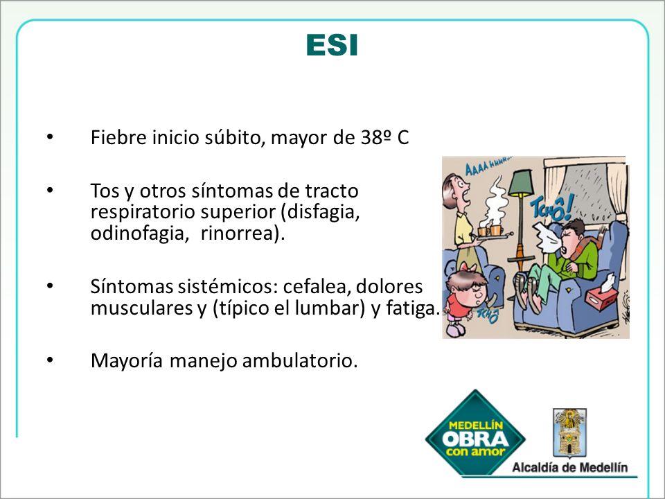 ESI Fiebre inicio súbito, mayor de 38º C Tos y otros síntomas de tracto respiratorio superior (disfagia, odinofagia, rinorrea). Síntomas sistémicos: c