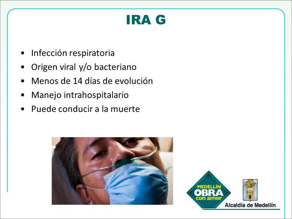 IRA G Infección respiratoria Origen viral y/o bacteriano Menos de 14 días de evolución Manejo intrahospitalario Puede conducir a la muerte
