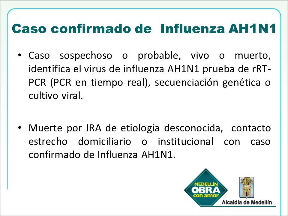 Caso confirmado de Influenza AH1N1 Caso sospechoso o probable, vivo o muerto, identifica el virus de influenza AH1N1 prueba de rRT- PCR (PCR en tiempo