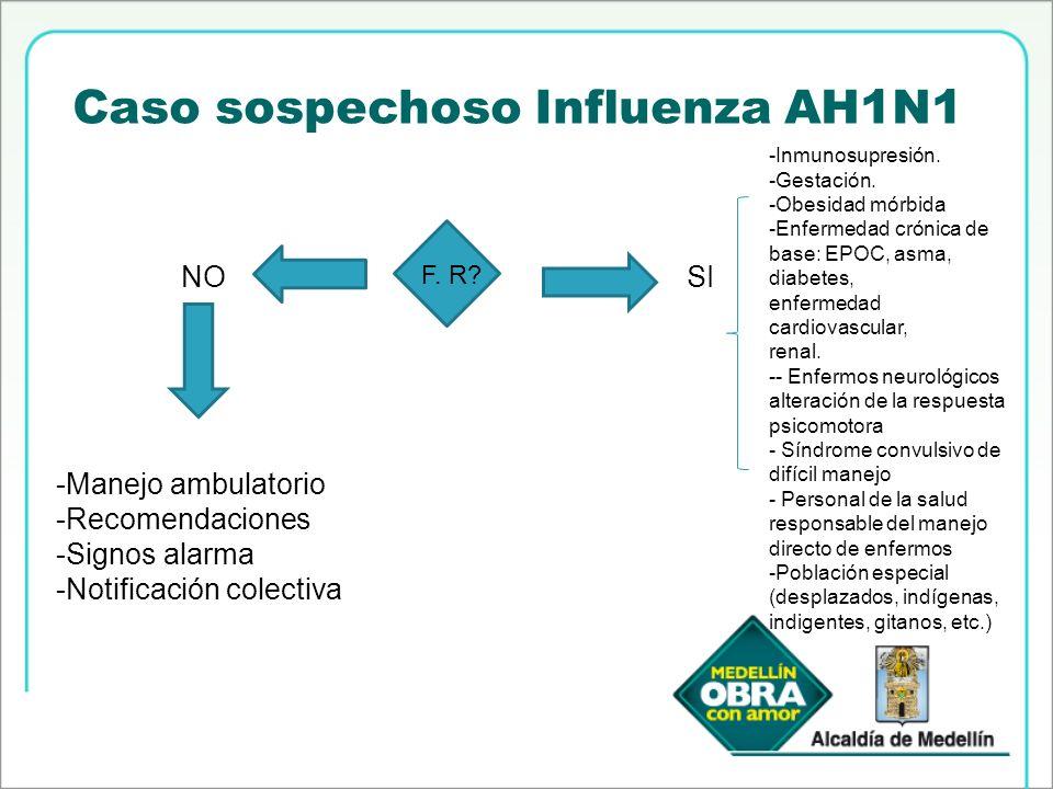 Caso sospechoso Influenza AH1N1 F. R? NOSI -Manejo ambulatorio -Recomendaciones -Signos alarma -Notificación colectiva -Inmunosupresión. -Gestación. -