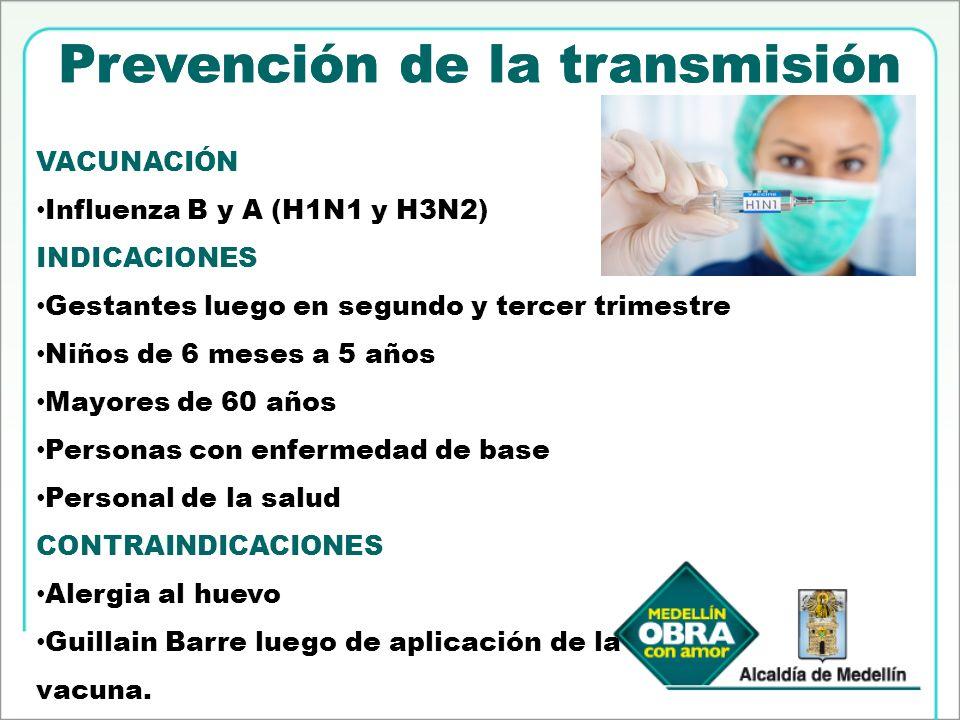 Prevención de la transmisión VACUNACIÓN Influenza B y A (H1N1 y H3N2) INDICACIONES Gestantes luego en segundo y tercer trimestre Niños de 6 meses a 5