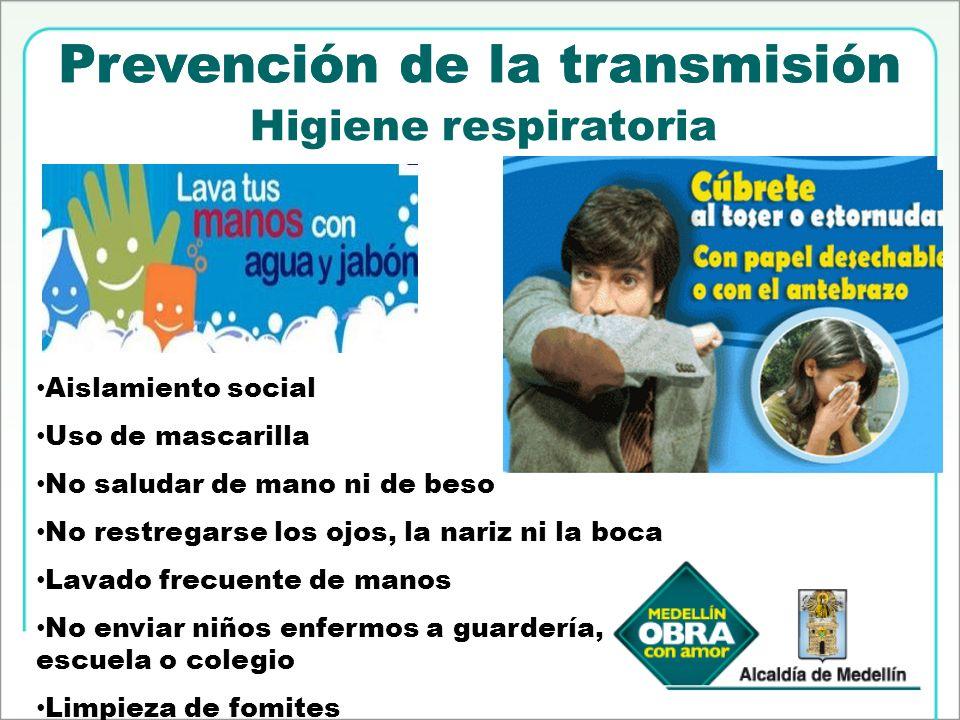 Prevención de la transmisión Higiene respiratoria Aislamiento social Uso de mascarilla No saludar de mano ni de beso No restregarse los ojos, la nariz