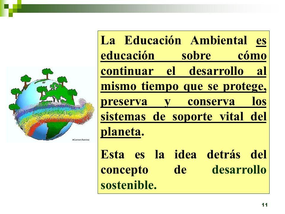 10 Definición de Educación Ambiental: Es un proceso que incluye un esfuerzo planificado para comunicar información y/o suministrar instrucción basado