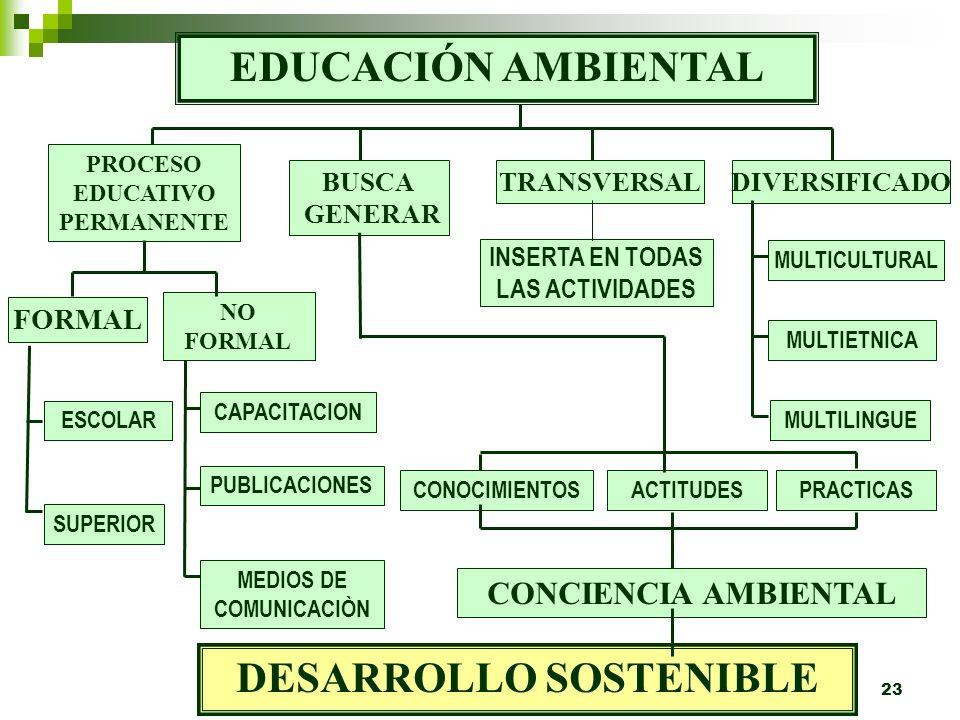 22 6.La educación ambiental debe ser diversificada, multicultural, multiétnica, multilingüe y contextualizada de acuerdo a los problemas ambientales c