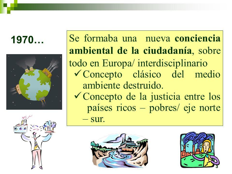 3 1970… Se formaba una nueva conciencia ambiental de la ciudadanía, sobre todo en Europa/ interdisciplinario Concepto clásico del medio ambiente destruido.