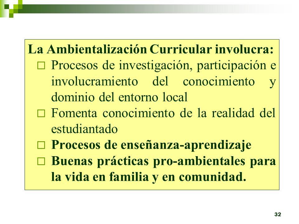 31 4. Ambientalización Curricular: Según Maritza Torres (1996), Incluir la dimensión ambiental en la escuela es permear todas las áreas del conocimien