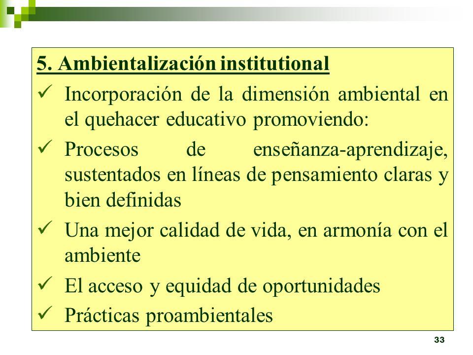 32 La Ambientalización Curricular involucra: Procesos de investigación, participación e involucramiento del conocimiento y dominio del entorno local F