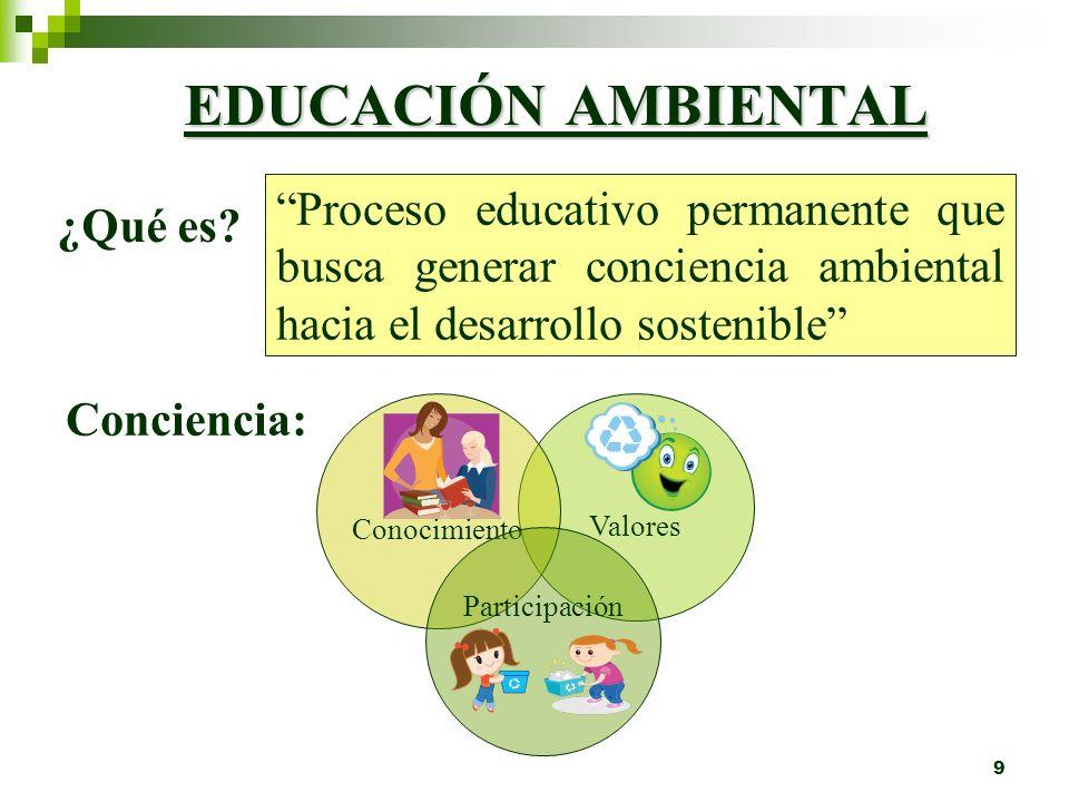 9 Valores EDUCACIÓN AMBIENTAL Proceso educativo permanente que busca generar conciencia ambiental hacia el desarrollo sostenible ¿Qué es.
