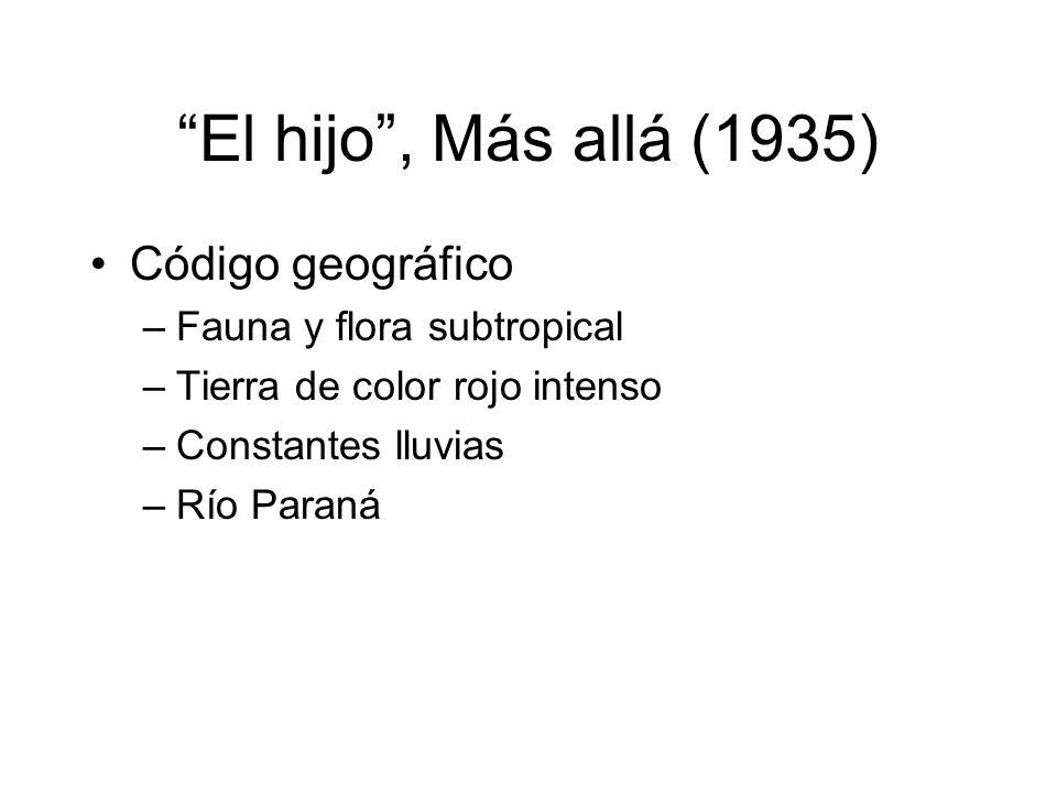 El hijo, Más allá (1935) Código geográfico –Fauna y flora subtropical –Tierra de color rojo intenso –Constantes lluvias –Río Paraná