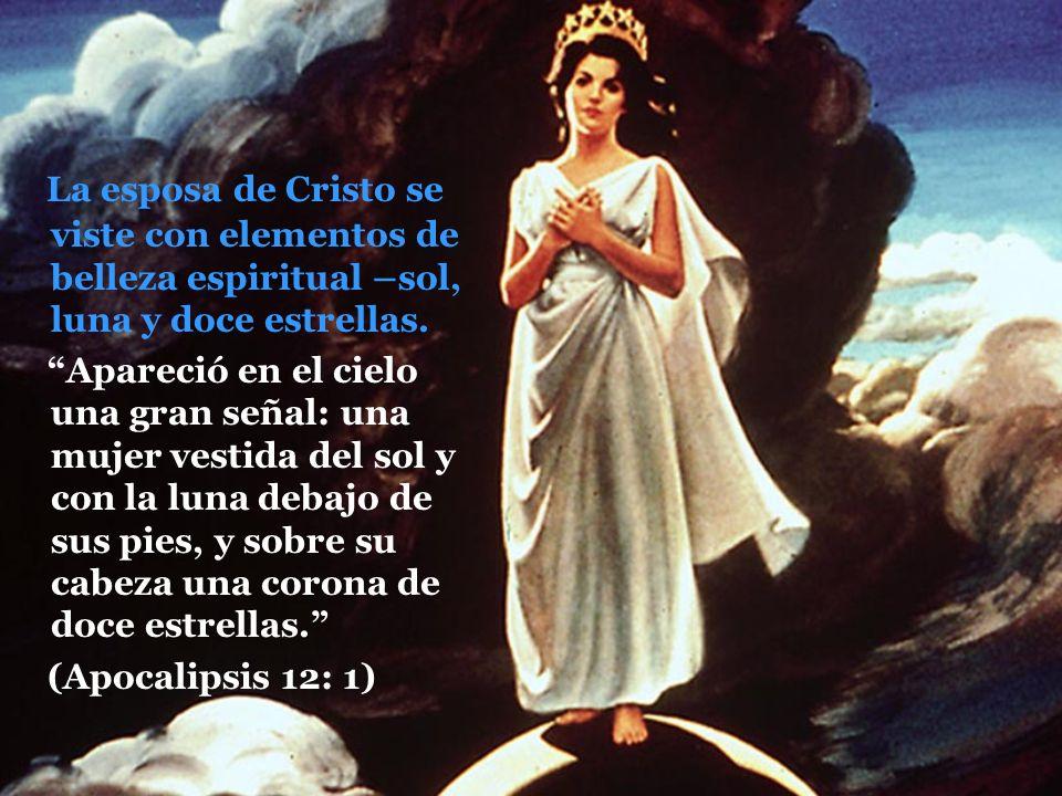 La esposa de Cristo se viste con elementos de belleza espiritual –sol, luna y doce estrellas. Apareció en el cielo una gran señal: una mujer vestida d