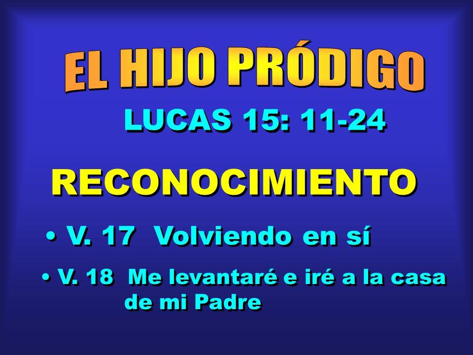 LUCAS 15: 11-24 RECONOCIMIENTO V. 17 Volviendo en sí V. 18 Me levantaré e iré a la casa de mi Padre V. 18 Me levantaré e iré a la casa de mi Padre