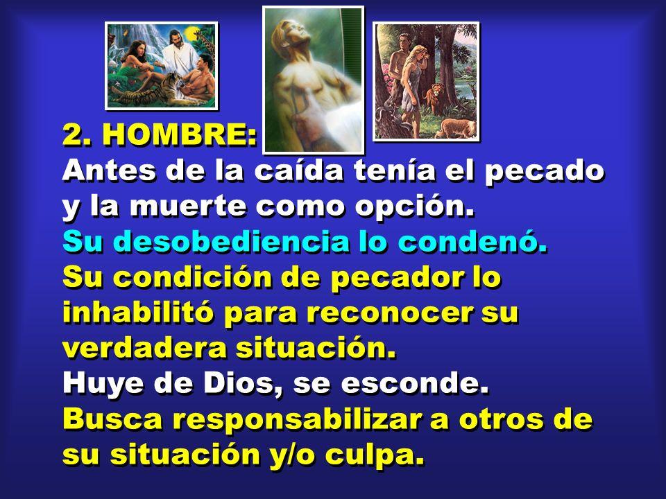 2. HOMBRE: Antes de la caída tenía el pecado y la muerte como opción. Su desobediencia lo condenó. Su condición de pecador lo inhabilitó para reconoce