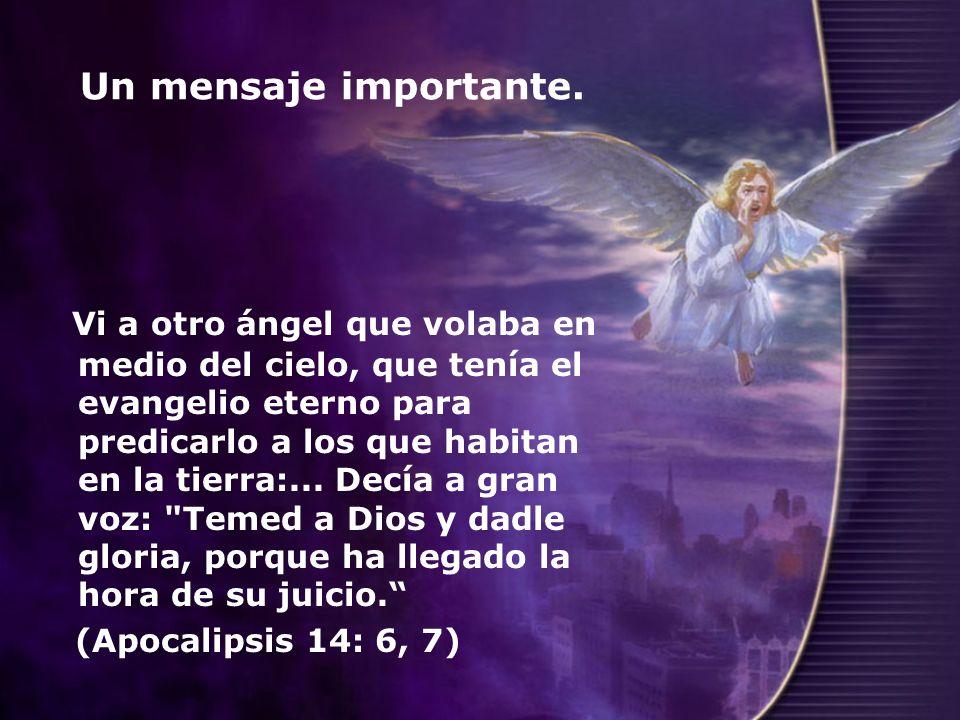 Un mensaje importante. Vi a otro ángel que volaba en medio del cielo, que tenía el evangelio eterno para predicarlo a los que habitan en la tierra:...