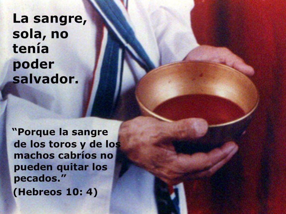 La sangre, sola, no tenía poder salvador. Porque la sangre de los toros y de los machos cabríos no pueden quitar los pecados. (Hebreos 10: 4)