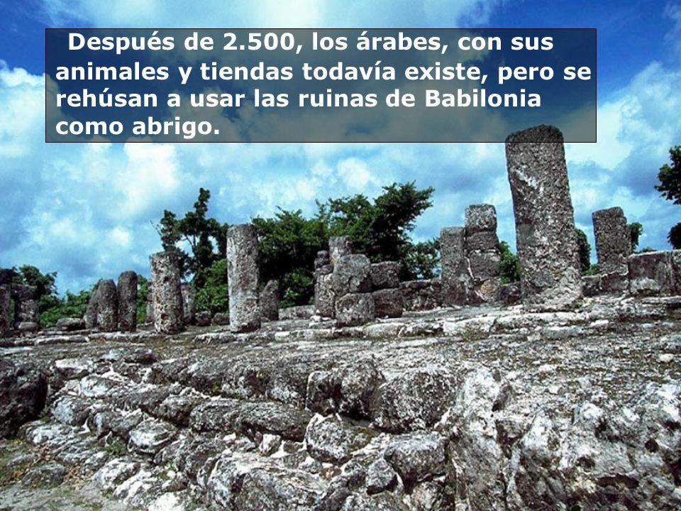 Después de 2.500, los árabes, con sus animales y tiendas todavía existe, pero se rehúsan a usar las ruinas de Babilonia como abrigo.