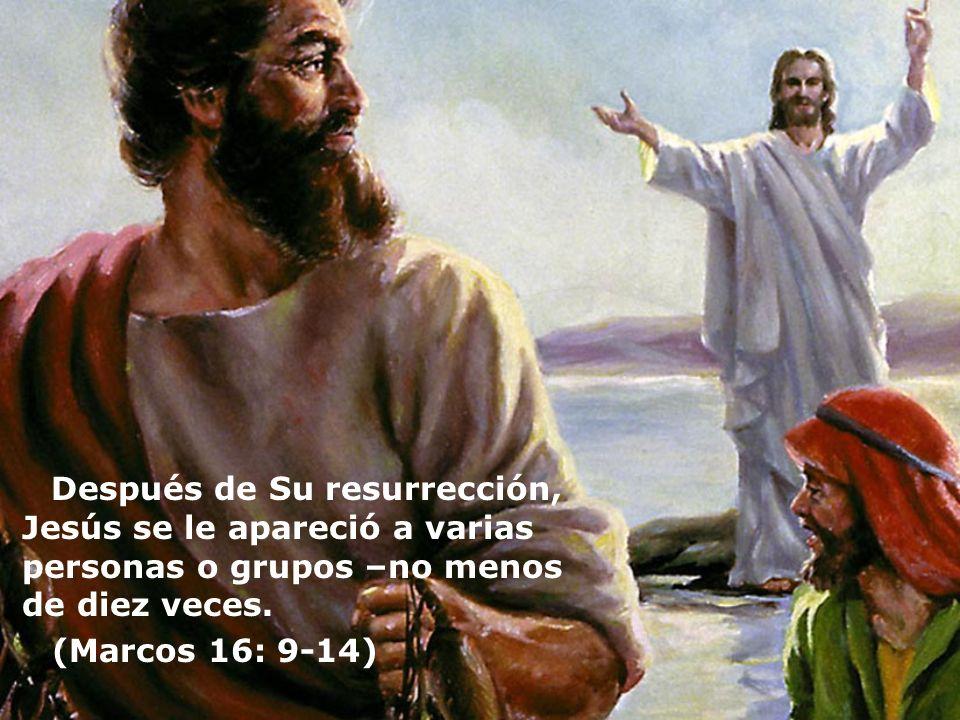 Después de Su resurrección, Jesús se le apareció a varias personas o grupos –no menos de diez veces. (Marcos 16: 9-14)