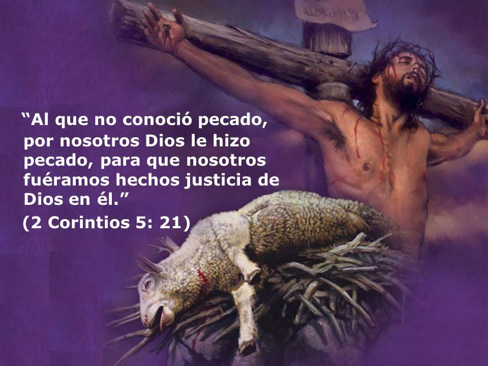 Al que no conoció pecado, por nosotros Dios le hizo pecado, para que nosotros fuéramos hechos justicia de Dios en él. (2 Corintios 5: 21)
