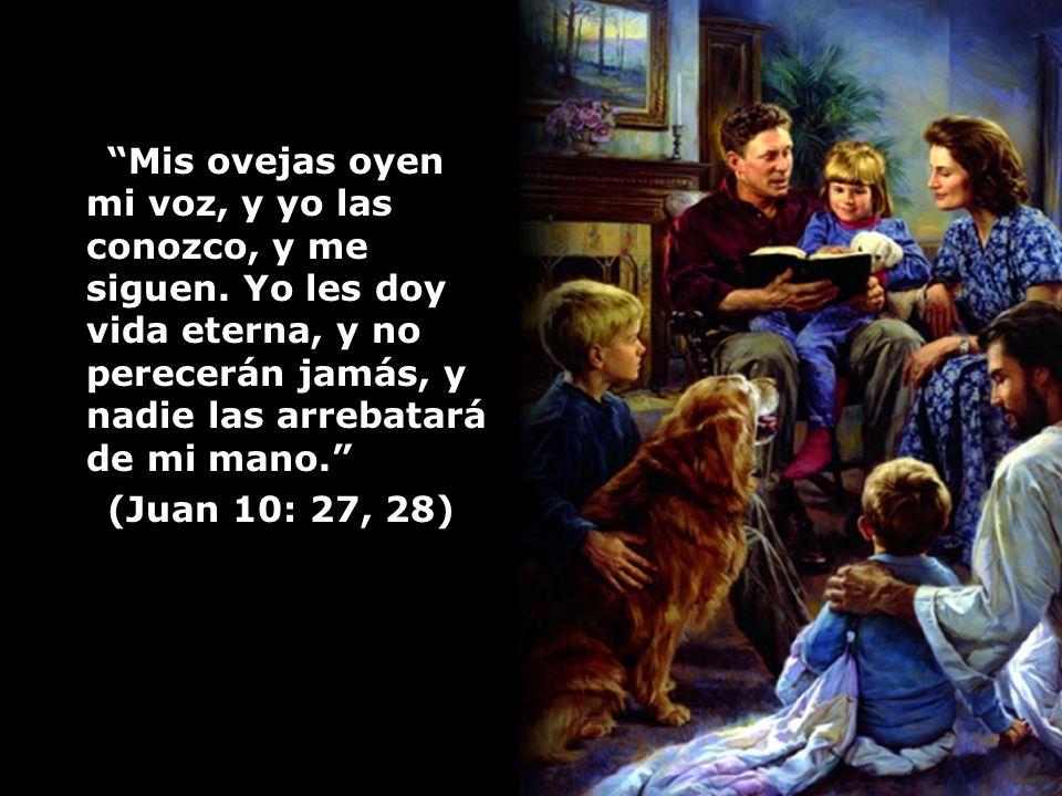 Mis ovejas oyen mi voz, y yo las conozco, y me siguen. Yo les doy vida eterna, y no perecerán jamás, y nadie las arrebatará de mi mano. (Juan 10: 27,