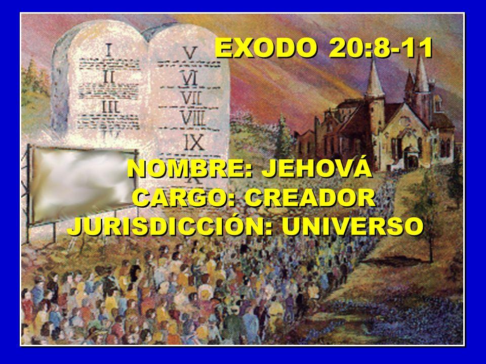 EXODO 20:8-11 NOMBRE: JEHOVÁ CARGO: CREADOR JURISDICCIÓN: UNIVERSO NOMBRE: JEHOVÁ CARGO: CREADOR JURISDICCIÓN: UNIVERSO