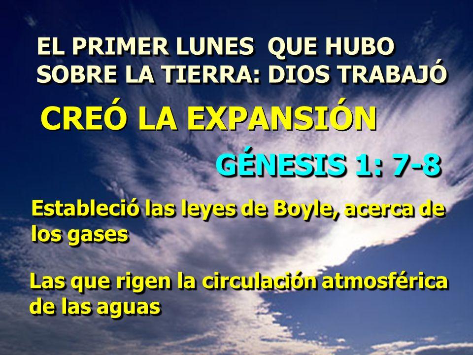 EL PRIMER LUNES QUE HUBO SOBRE LA TIERRA: DIOS TRABAJÓ EL PRIMER LUNES QUE HUBO SOBRE LA TIERRA: DIOS TRABAJÓ GÉNESIS 1: 7-8 Estableció las leyes de B