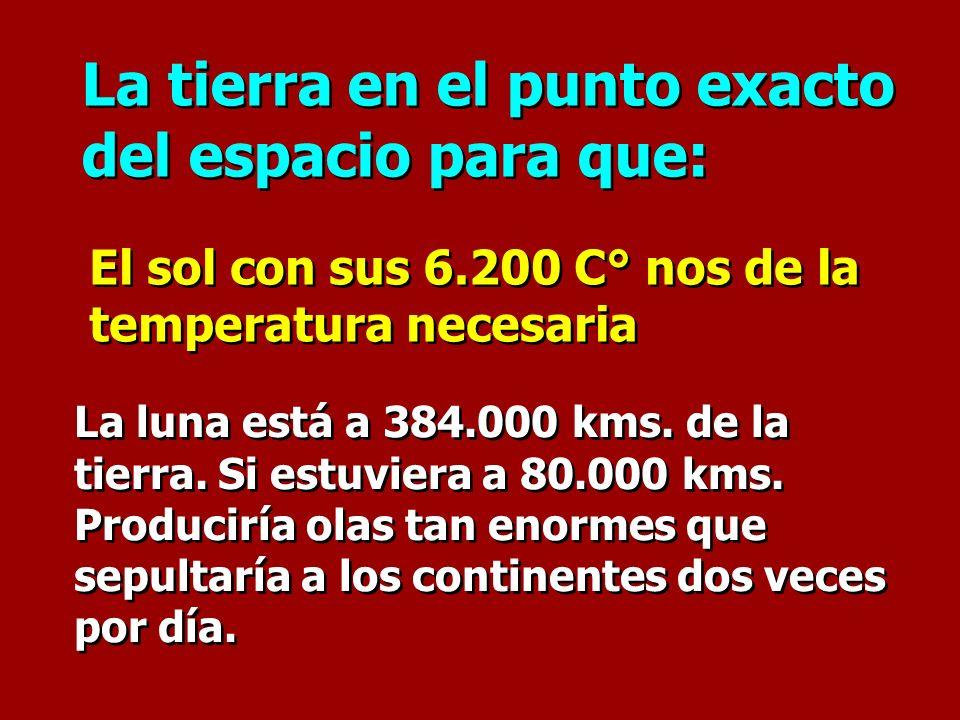 La tierra en el punto exacto del espacio para que: La tierra en el punto exacto del espacio para que: El sol con sus 6.200 C° nos de la temperatura ne