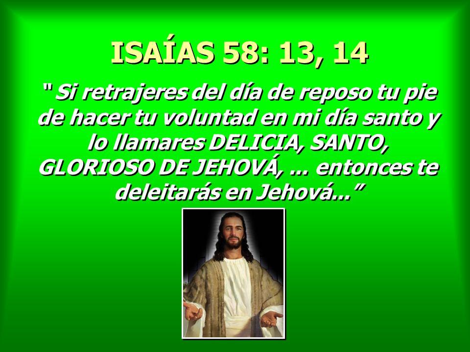 Si retrajeres del día de reposo tu pie de hacer tu voluntad en mi día santo y lo llamares DELICIA, SANTO, GLORIOSO DE JEHOVÁ,... entonces te deleitará
