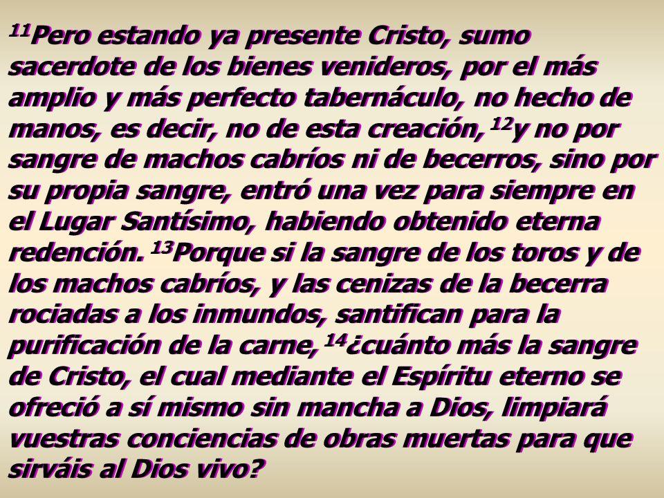 11 Pero estando ya presente Cristo, sumo sacerdote de los bienes venideros, por el más amplio y más perfecto tabernáculo, no hecho de manos, es decir,