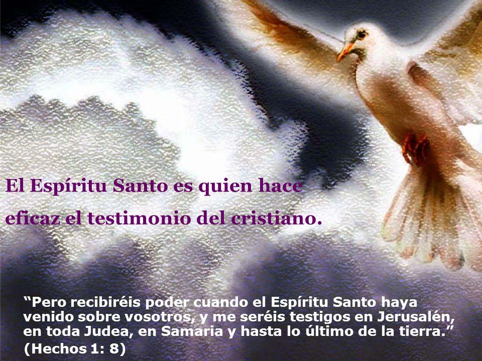 El Espíritu Santo es quien hace eficaz el testimonio del cristiano. Pero recibiréis poder cuando el Espíritu Santo haya venido sobre vosotros, y me se