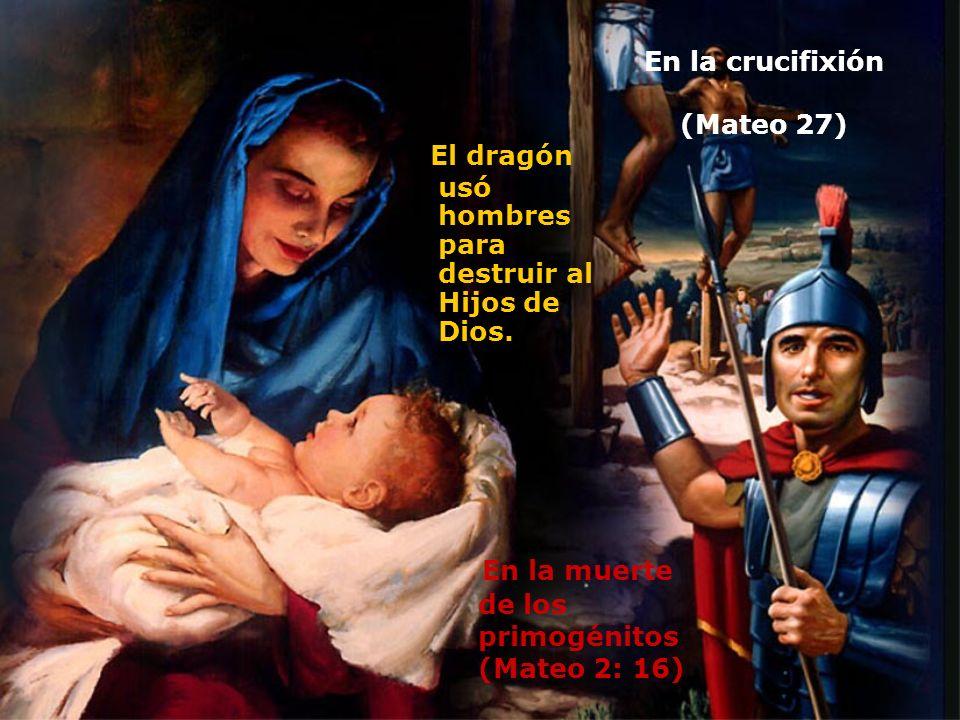 En la crucifixión (Mateo 27) El dragón usó hombres para destruir al Hijos de Dios. En la muerte de los primogénitos (Mateo 2: 16)