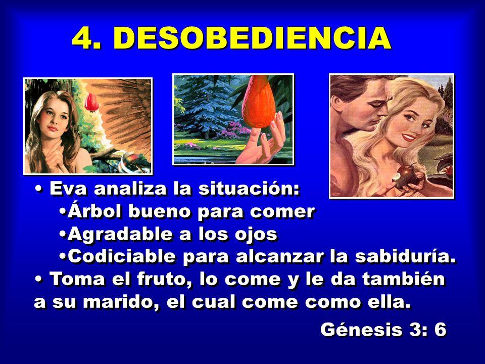 La serpiente insiste en relacionar a Dios (sabe Dios). Serán abiertos vuestros ojos Seréis como Dios, sabiendo el bien y el mal. La serpiente insiste