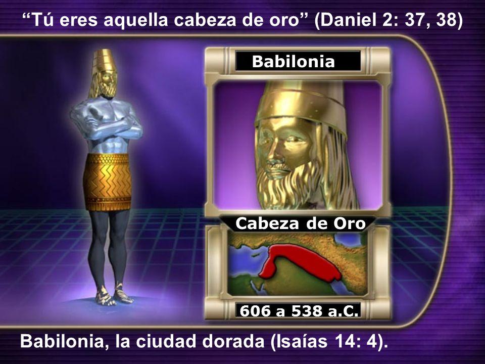 Tú eres aquella cabeza de oro (Daniel 2: 37, 38) Babilonia Cabeza de Oro Babilonia, la ciudad dorada (Isaías 14: 4). 606 a 538 a.C.