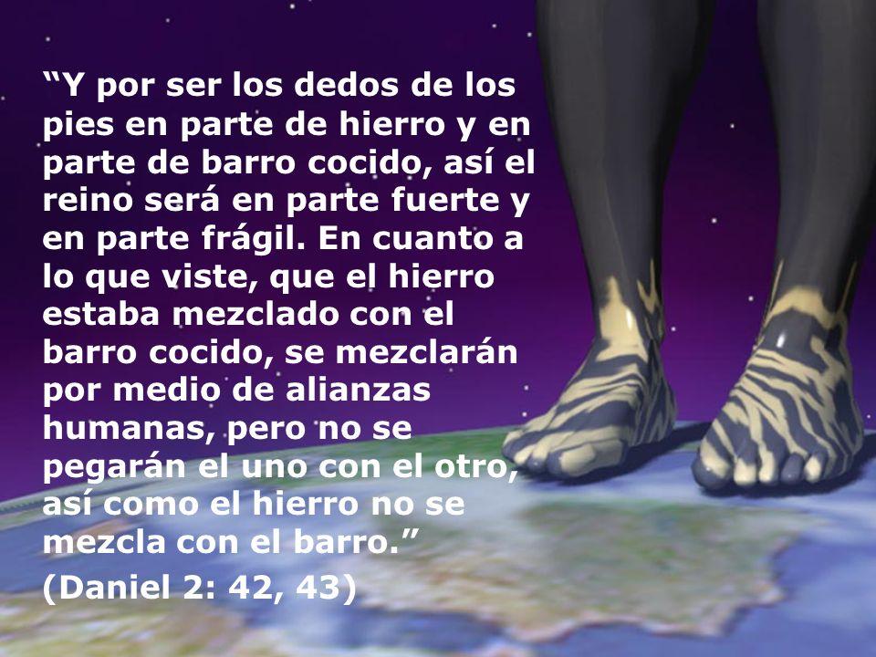 Y por ser los dedos de los pies en parte de hierro y en parte de barro cocido, así el reino será en parte fuerte y en parte frágil. En cuanto a lo que