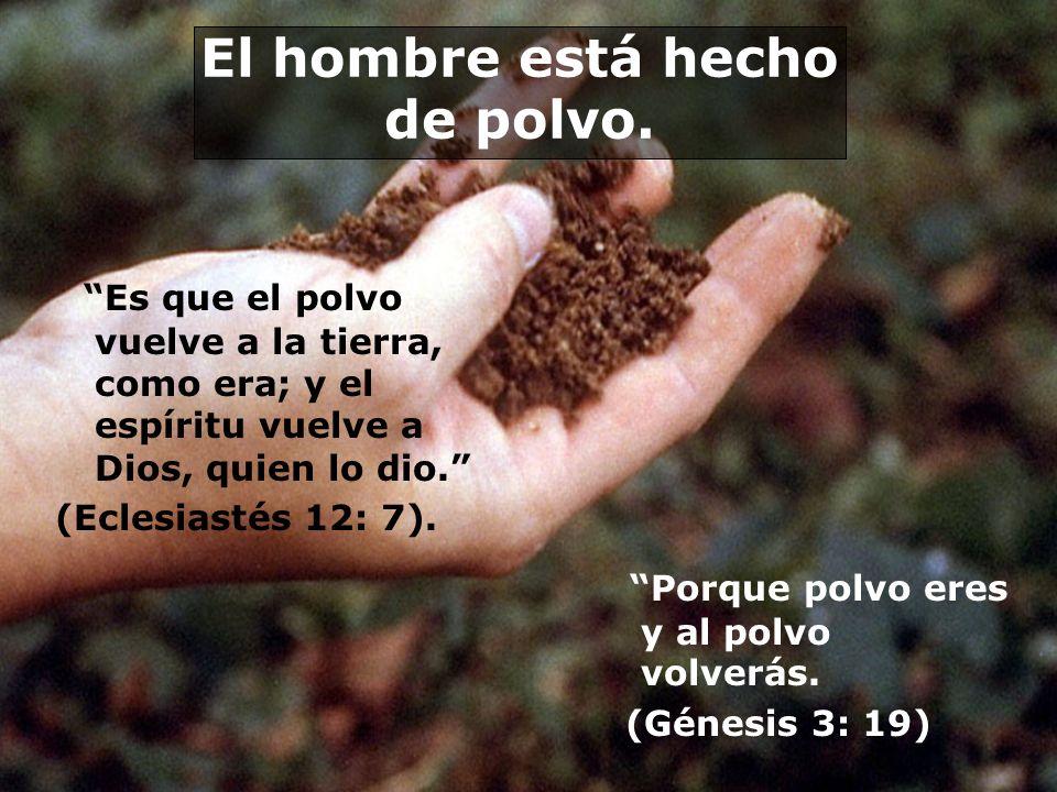 El hombre está hecho de polvo. Es que el polvo vuelve a la tierra, como era; y el espíritu vuelve a Dios, quien lo dio. (Eclesiastés 12: 7). Porque po