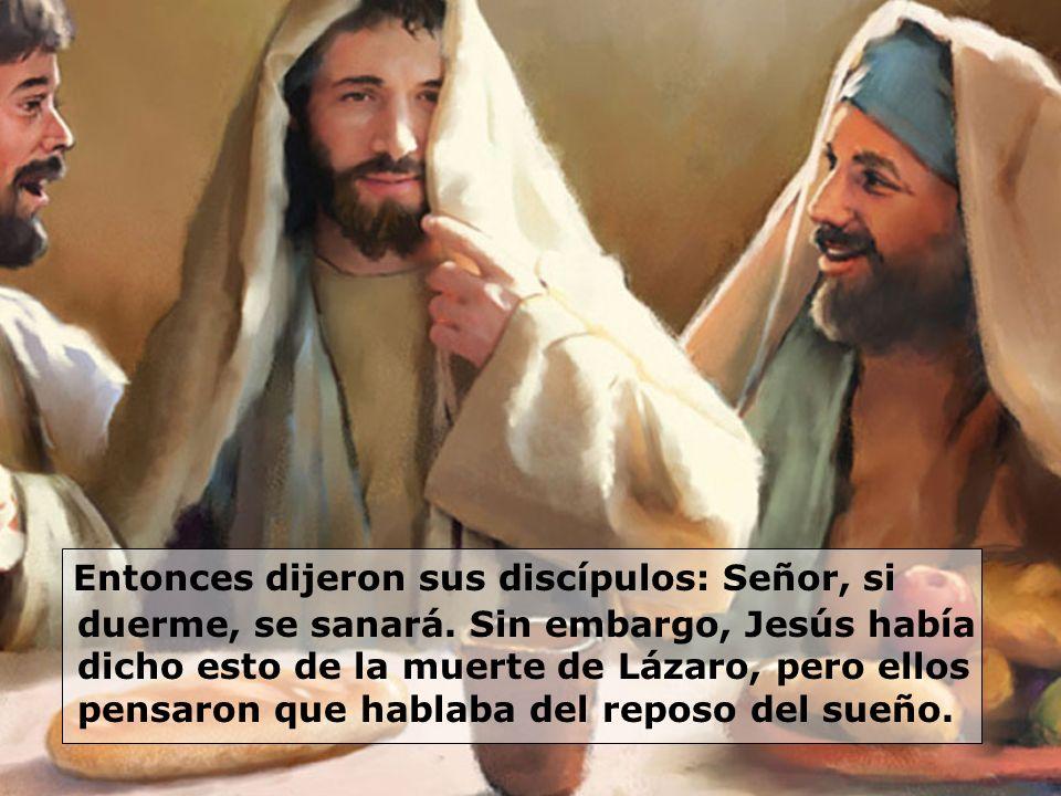 Entonces dijeron sus discípulos: Señor, si duerme, se sanará. Sin embargo, Jesús había dicho esto de la muerte de Lázaro, pero ellos pensaron que habl