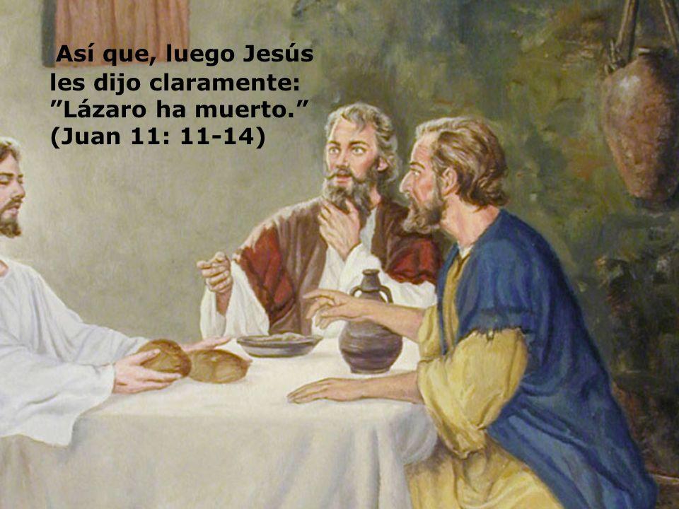 Así que, luego Jesús les dijo claramente: Lázaro ha muerto. (Juan 11: 11-14)