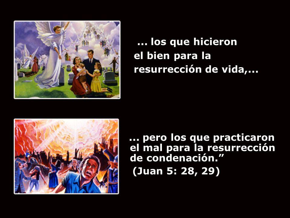 ... los que hicieron el bien para la resurrección de vida,...... pero los que practicaron el mal para la resurrección de condenación. (Juan 5: 28, 29)
