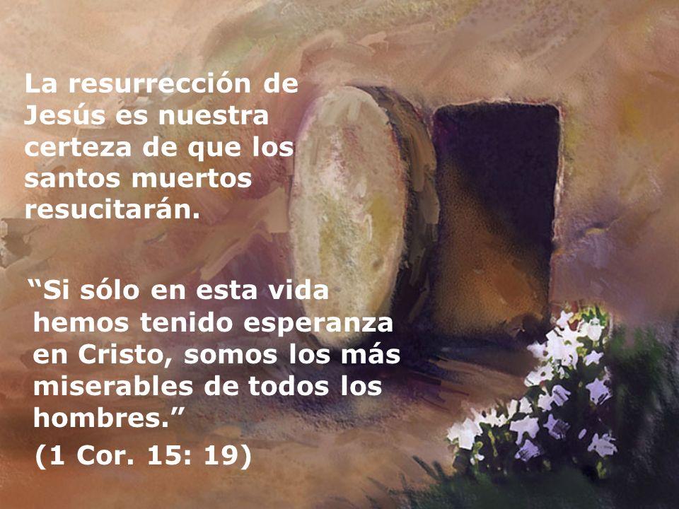 La resurrección de Jesús es nuestra certeza de que los santos muertos resucitarán. Si sólo en esta vida hemos tenido esperanza en Cristo, somos los má