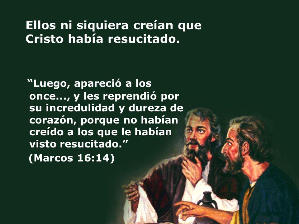 Ellos ni siquiera creían que Cristo había resucitado. Luego, apareció a los once..., y les reprendió por su incredulidad y dureza de corazón, porque n