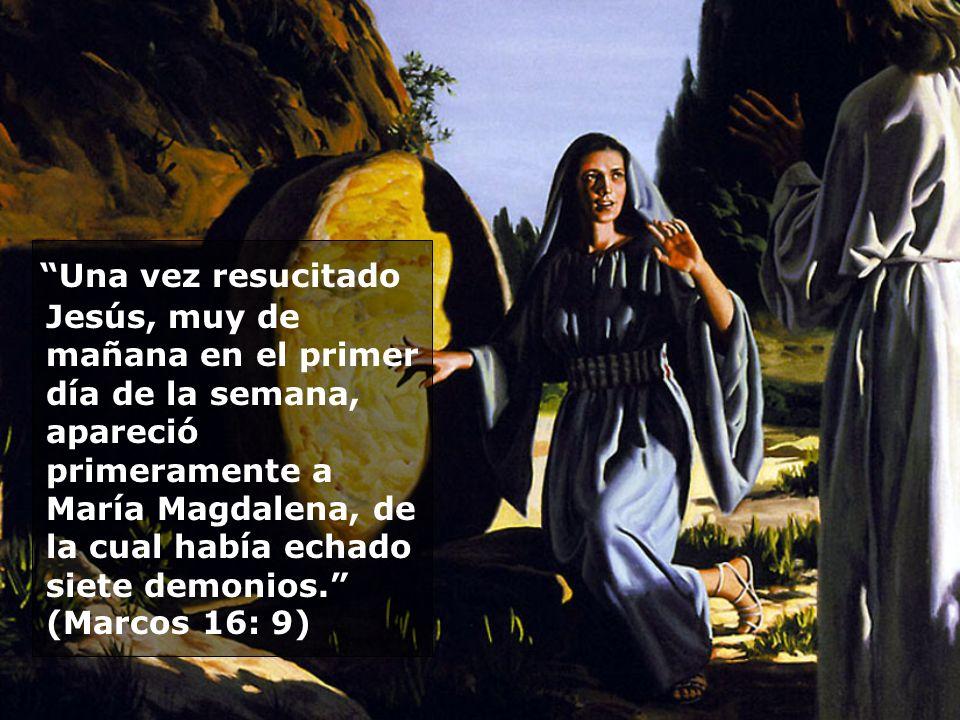 Una vez resucitado Jesús, muy de mañana en el primer día de la semana, apareció primeramente a María Magdalena, de la cual había echado siete demonios