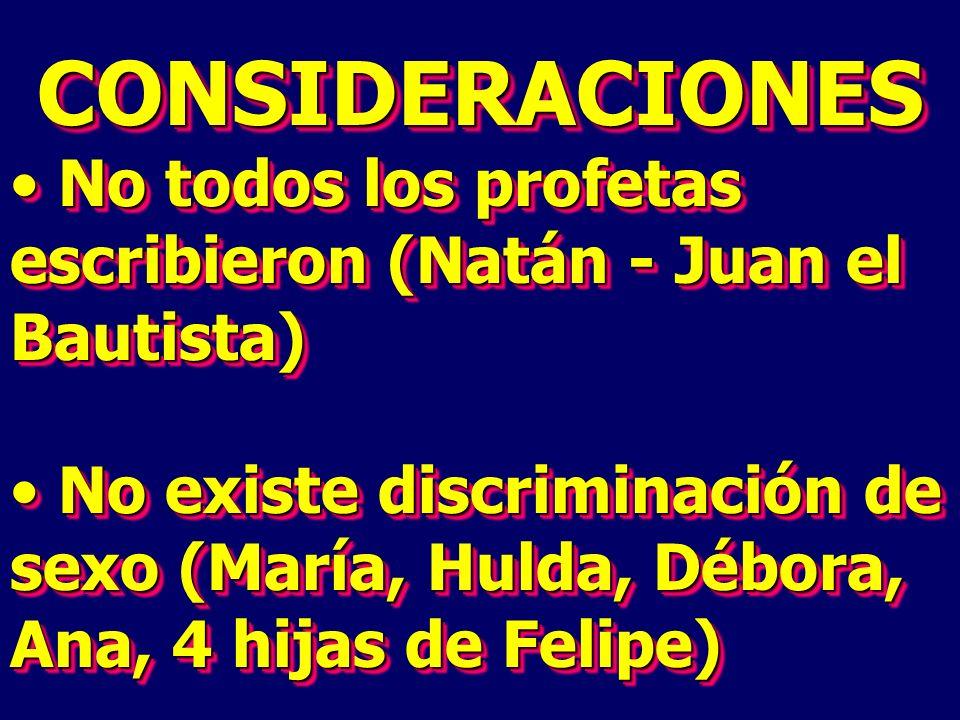 CONSIDERACIONES No todos los profetas escribieron (Natán - Juan el Bautista) No todos los profetas escribieron (Natán - Juan el Bautista) No existe di