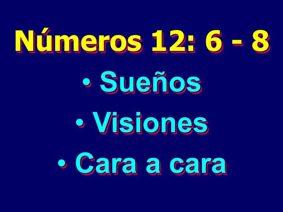 Números 12: 6 - 8 Sueños Sueños Visiones Visiones Cara a cara Cara a cara Números 12: 6 - 8 Sueños Sueños Visiones Visiones Cara a cara Cara a cara