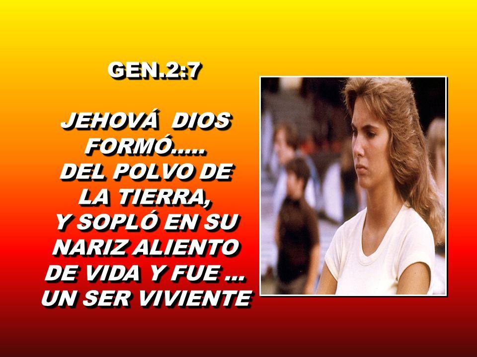 GEN.2:7 GEN.2:7 JEHOVÁ DIOS FORMÓ..... DEL POLVO DE LA TIERRA, Y SOPLÓ EN SU NARIZ ALIENTO DE VIDA Y FUE... UN SER VIVIENTE GEN.2:7 GEN.2:7 JEHOVÁ DIO