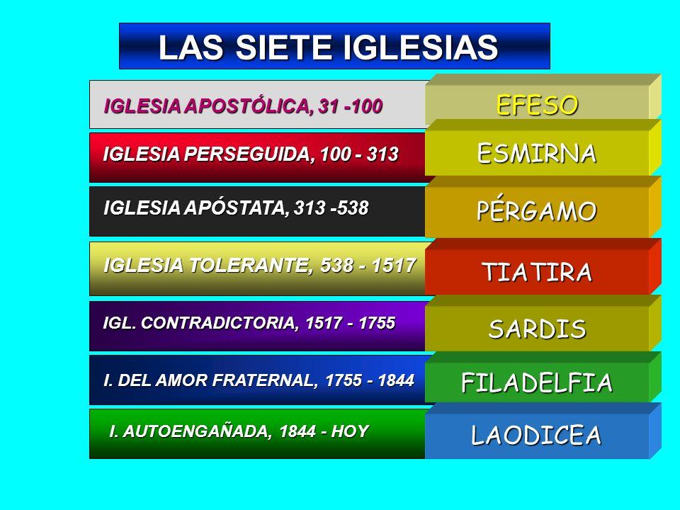LAS SIETE IGLESIAS IGLESIA APOSTÓLICA, 31 -100 IGLESIA PERSEGUIDA, 100 - 313 IGLESIA APÓSTATA, 313 -538 IGLESIA TOLERANTE, 538 - 1517 IGL. CONTRADICTO